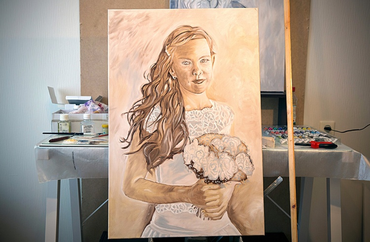 Underpainting ... I started to study oil painting. Now I wait while it dries. Tauno Erik
