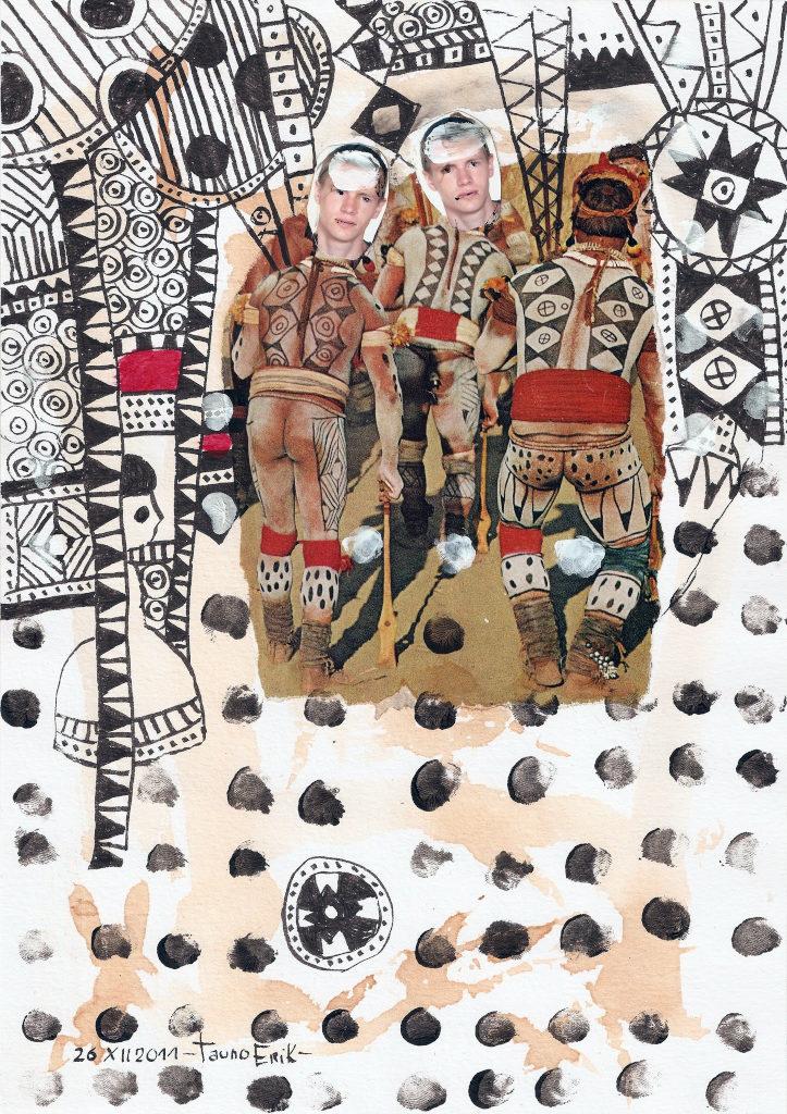 Abstrack Men. Collage on paper. Tauno Erik