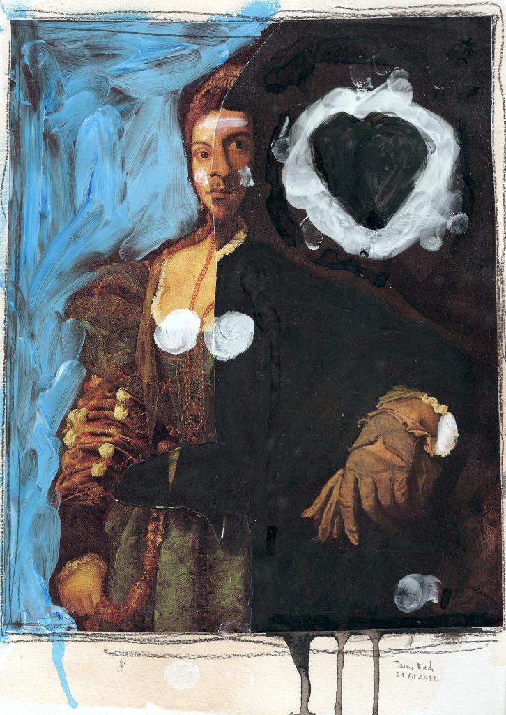 Black heart. Collage on paper. Tauno Erik