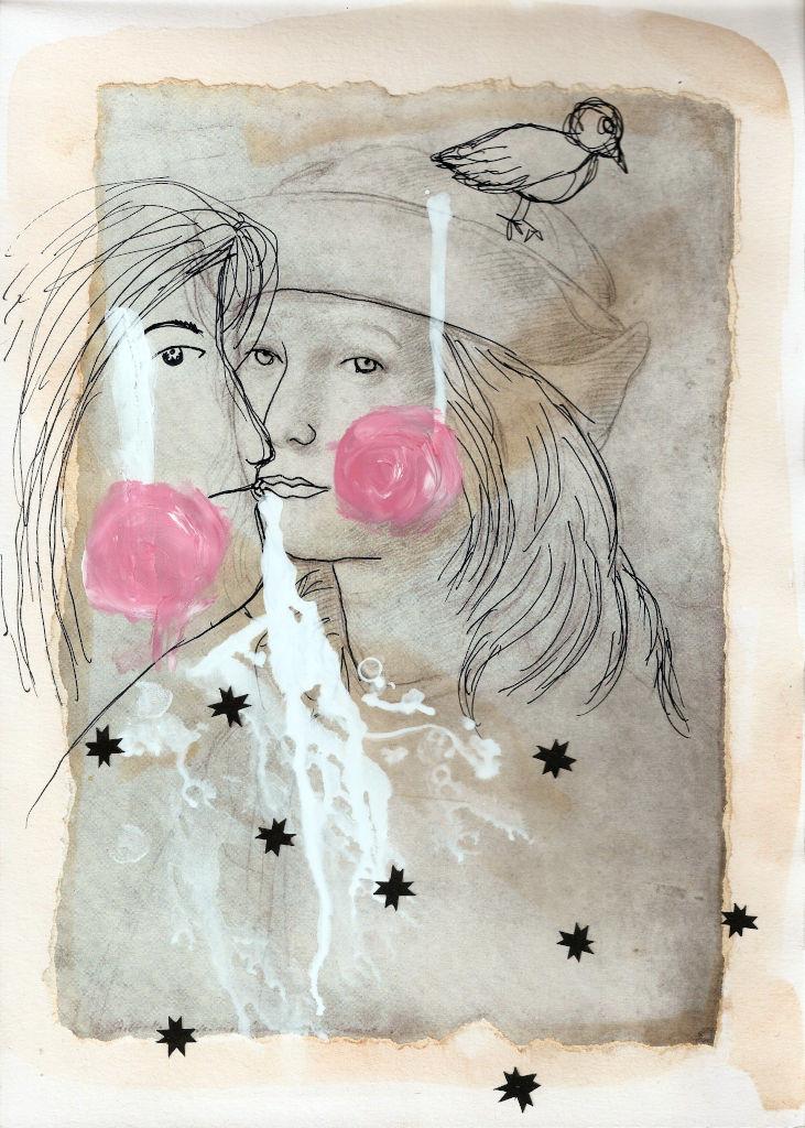 Black stars. Collage on paper. Tauno Erik
