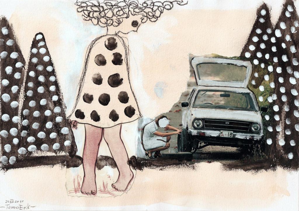 Car Stop. Collage on paper. Tauno Erik