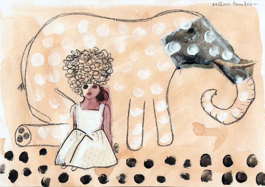 Elephant. Collage on paper. Tauno Erik