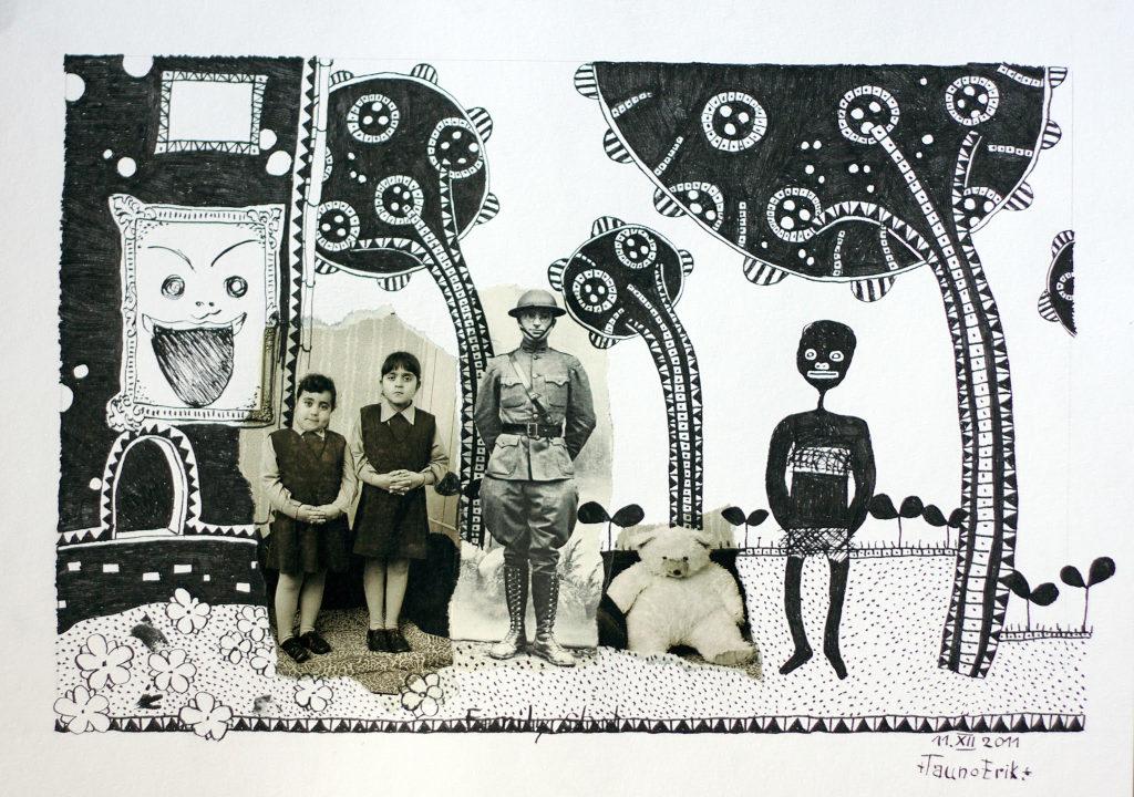 Family Shot. Collage on paper. Tauno Erik