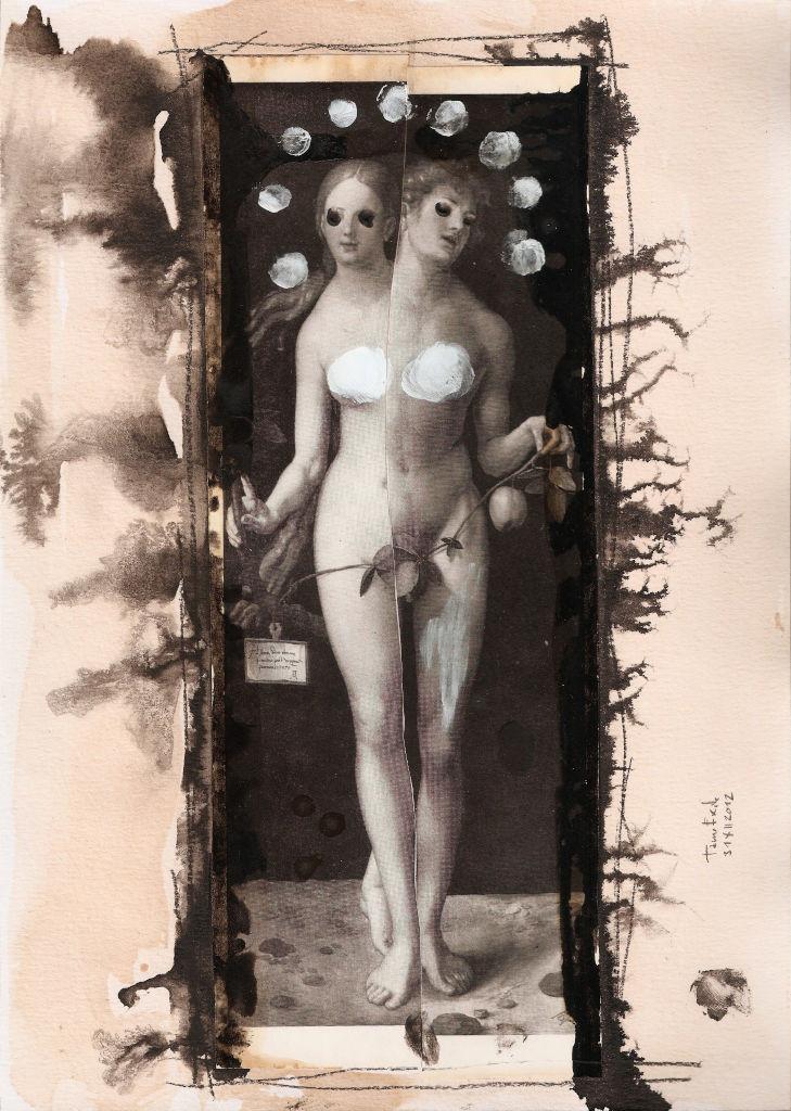 Creating Human. Collage on paper. Tauno Erik
