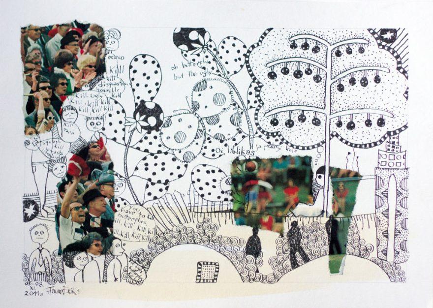 Kill Buterflies. Collage on paper. Tauno Erik