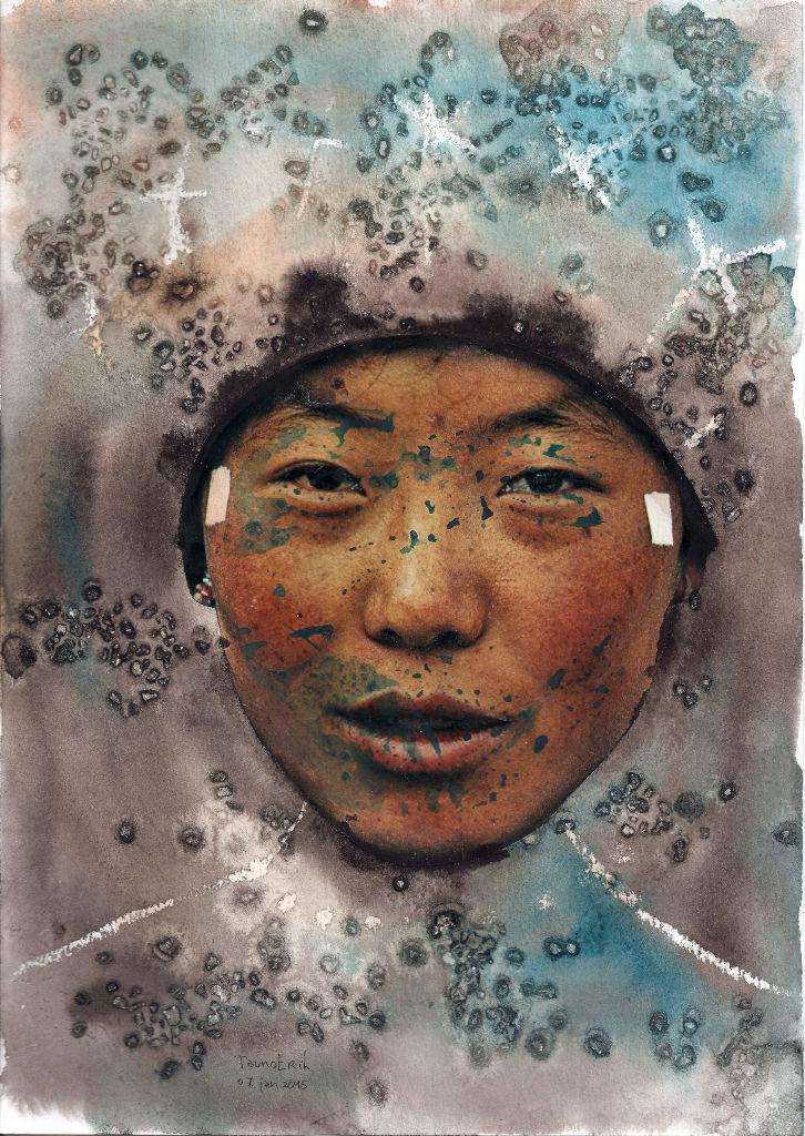 Face. Collage on paper. Tauno Erik