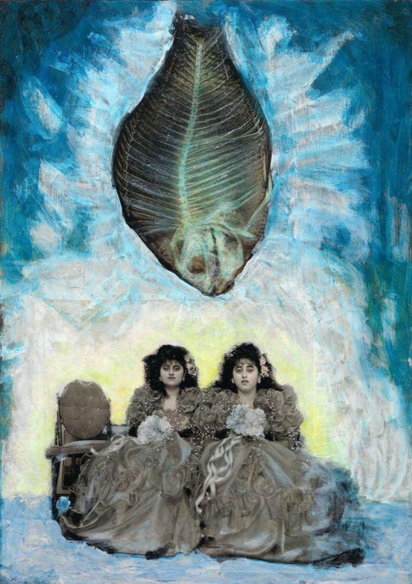 Püha Vaimu väljavalamine. The fall of the Holy Spirit. Collage on wood. Tauno Erik