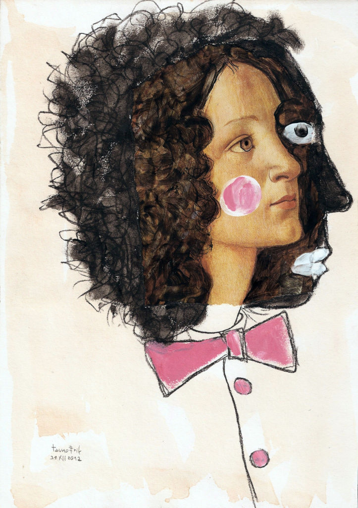 Pick up your new year's face. Collage on paper. Tauno Erik