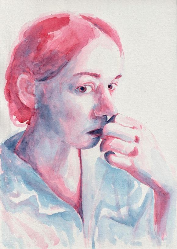 Nervous girl. Watercolor Tauno Erik