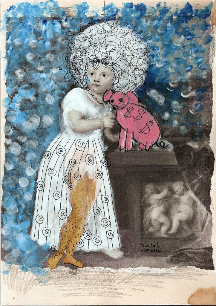 Pink Big. Collage on paper. Tauno Erik