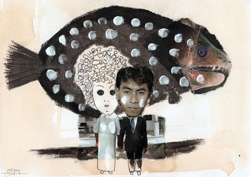 Pruutpaar. Couple. Collage on paper. Tauno Erik
