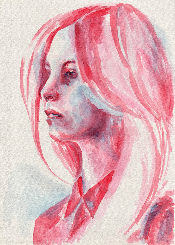 Girl in red shirt. Watercolor. Tauno Erik