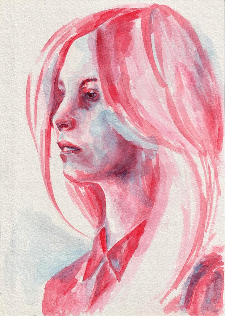 Girl in red shirt. Watercolor. Tauno Erik