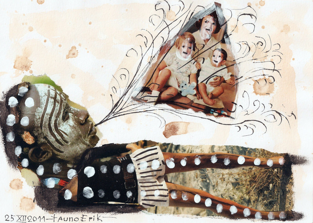 Creating holy trinity. Collage on paper. Tauno Erik