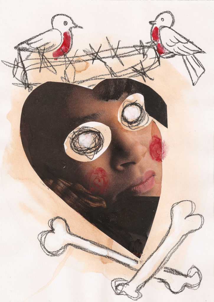 Pime süda. Blind Heart. Collage on paper. Tauno Erik