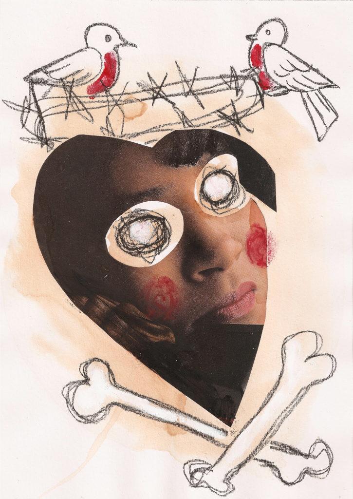 Pime süda. Blind Heart. Collage on paper. Tauno Erik