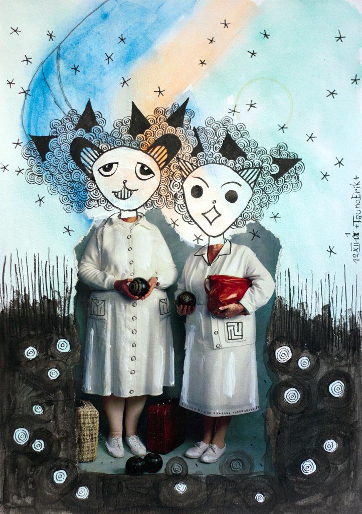 Sisters. Collage on paper. Tauno Erik