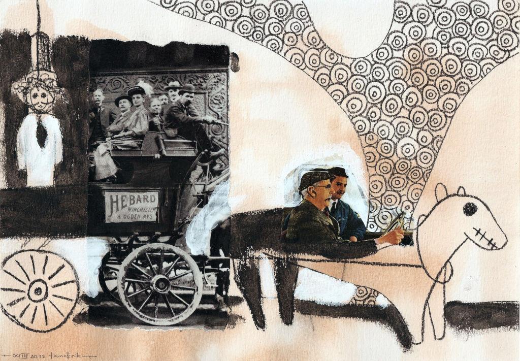Chariot. Collage on paper. Tauno Erik