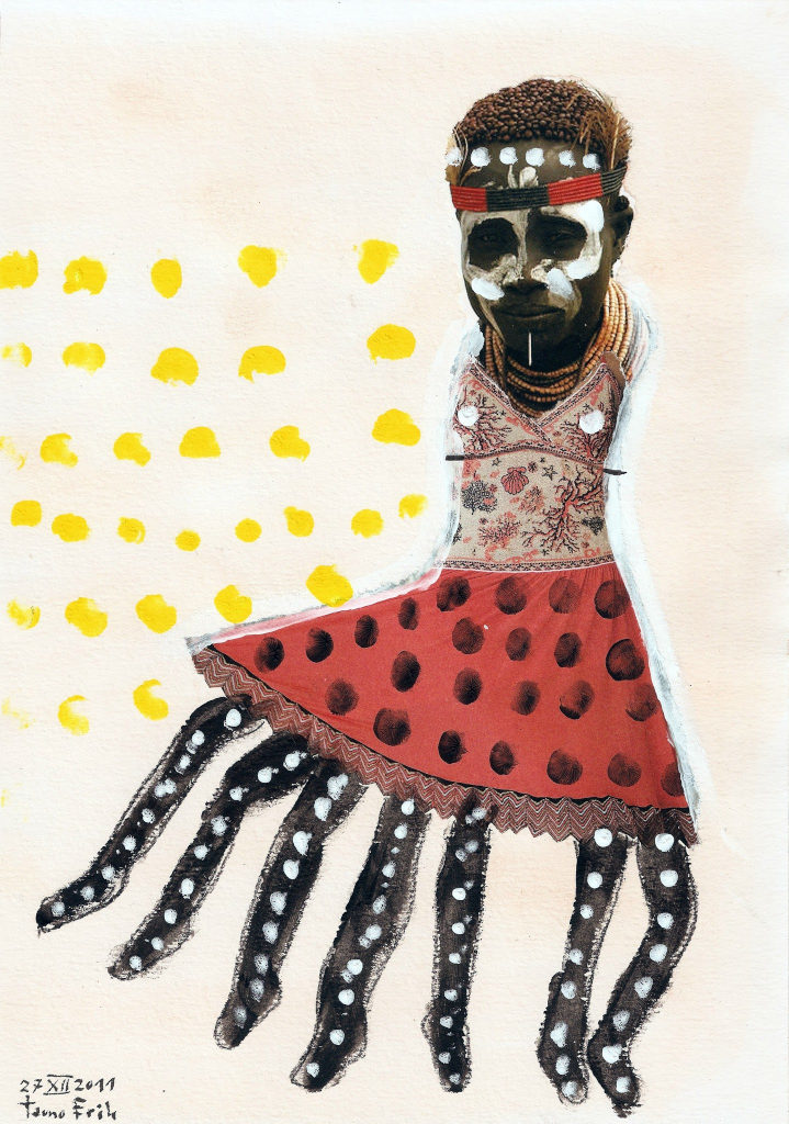Tantsija. Dancer. Collage on paper. Tauno Erik