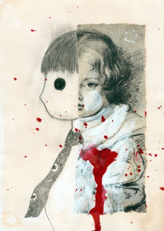 Her heart. Collage on paper. Tauno Erik
