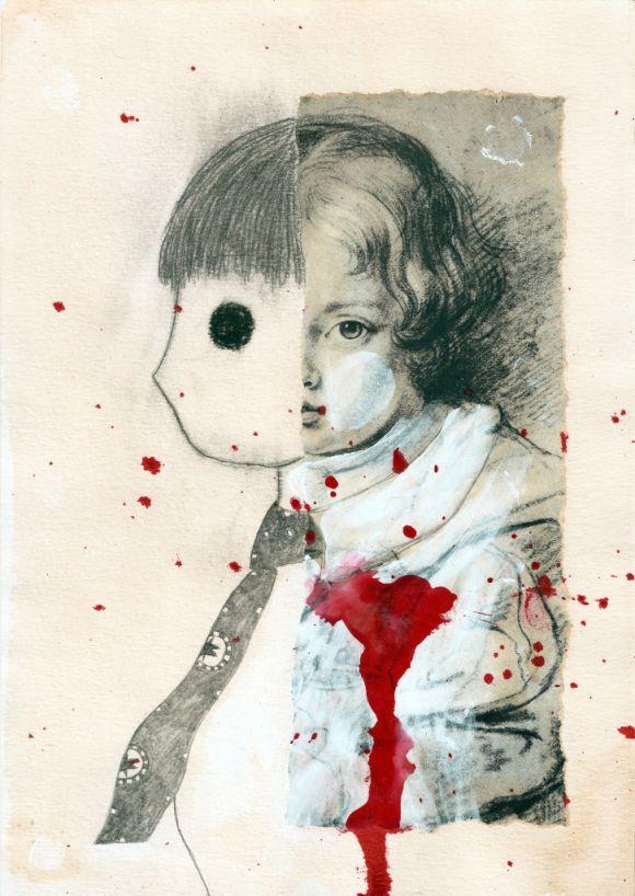 Her heart. Collage on paper. Tauno Erik