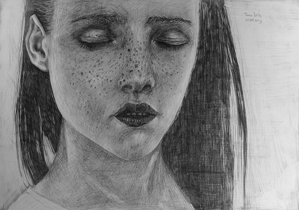 Closed eyes, Drawing on paper. Tauno Erik