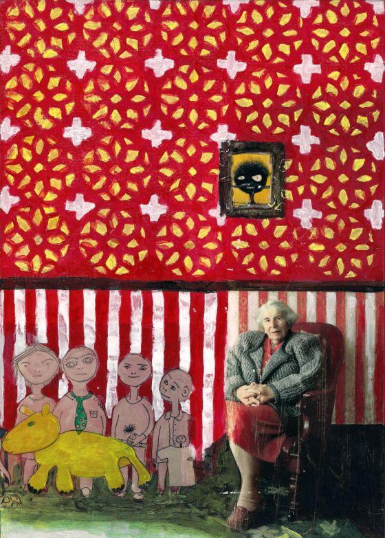Grandma and her family. Collage on wood. Tauno Erik