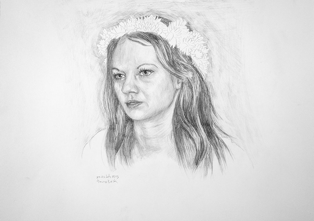 Girl with a flower crown. Tauno Erik