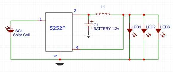 Solar Garden Light Circuit with 5252F