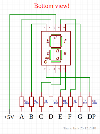 One 7-seg LED with resistors