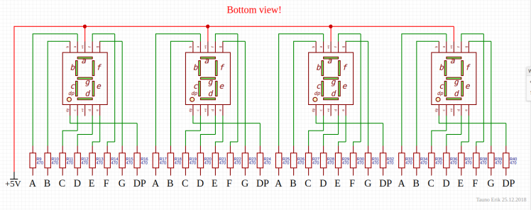 All four 7-segment LEDs connected together