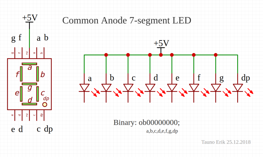 Common anode 7-segment LED circuit.