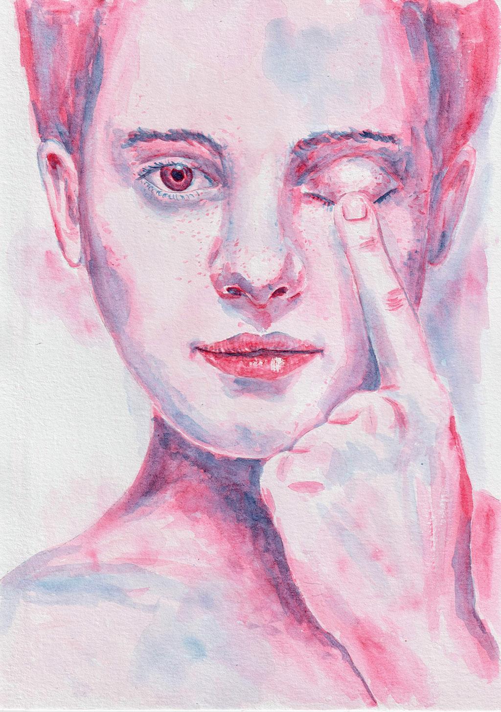 Close one eye. Watercolour, A4. Tauno Erik