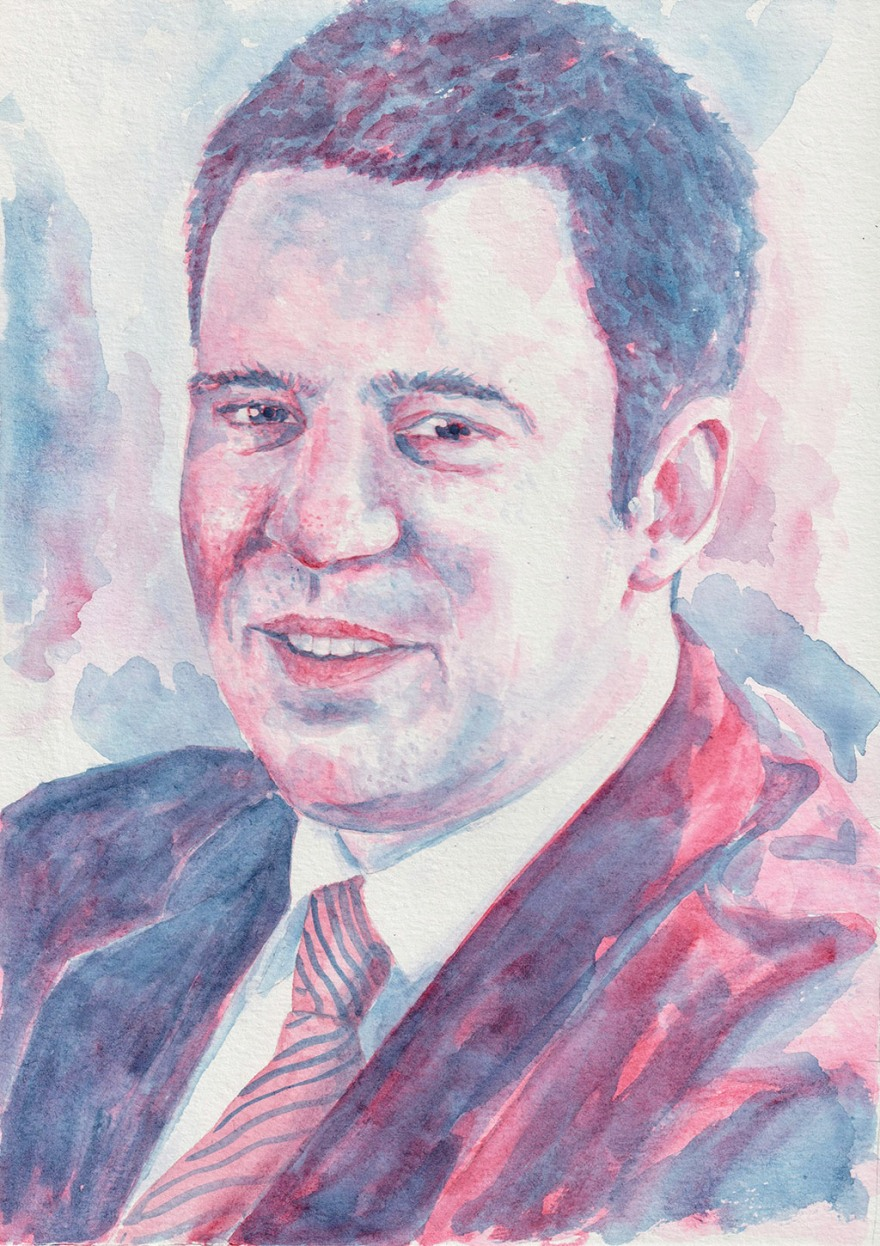 Jüri Ratas. Watercolour on A4 paper. Tauno Erik