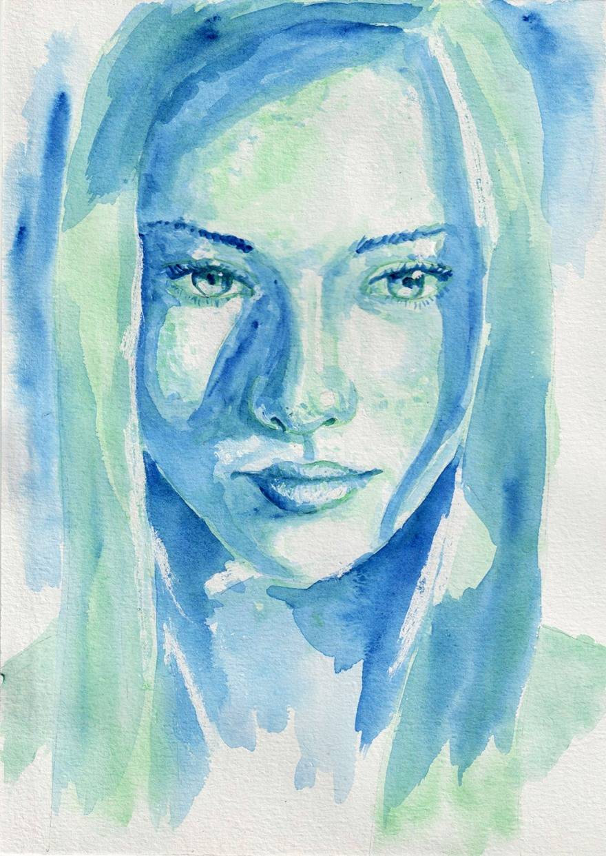 Green eyes. Watercolour on A4 paper. Tauno Erik