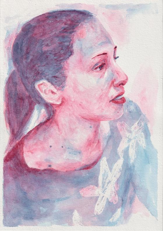 Kaia. Watercolor, A4, Tauno Erik