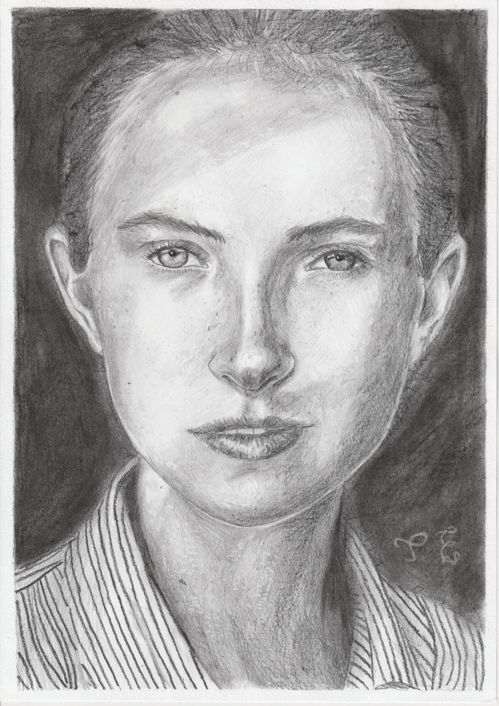 Pencil portrait on dark background