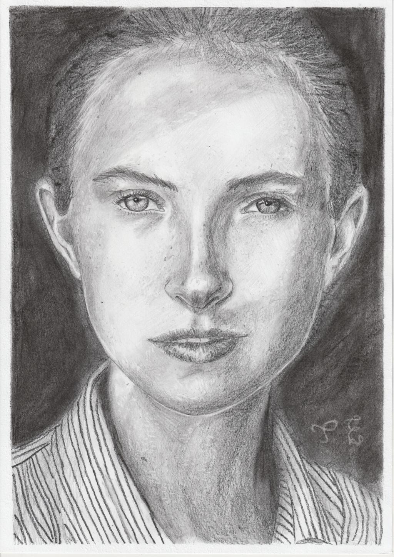 Pencil portrait on dark background
